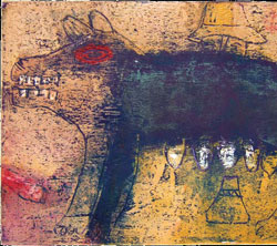 Milking your dogs, Monoprint, Henry Mzili Mujunga, 2009