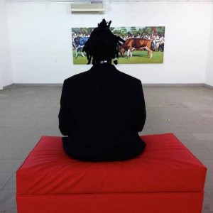 Henry Mzili Mujunga at the Kampala Art Biennale 2014