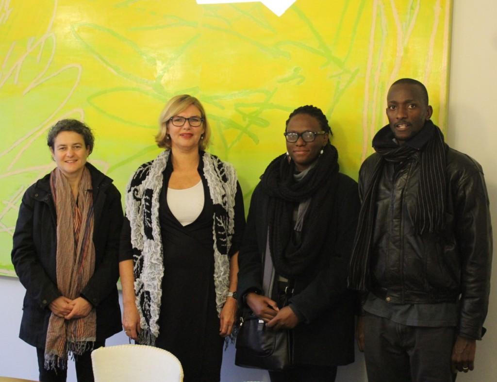 Andrea Stultiens, Dorothea Van der Meulen, Dean of Academie Minerva, Sarah AKol and Eria Nsubuga, Author