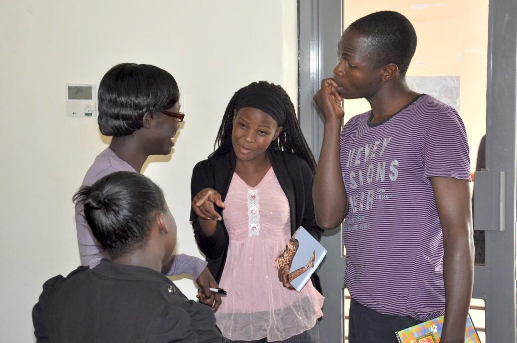 Art Students diiscuss during the presentation at UCU