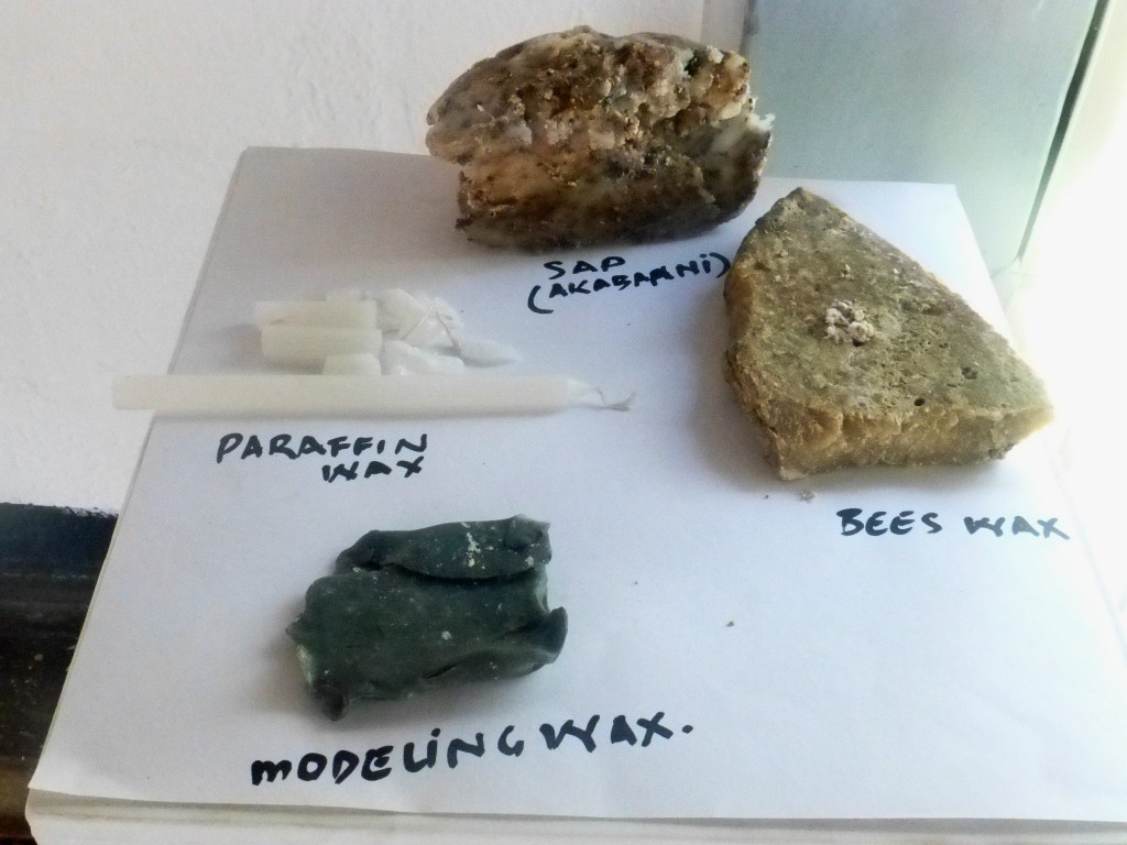 Samples of Modelling Wax from local materials