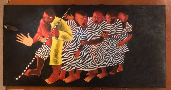 Blind Leading blink, Fred Mutebi on bark-cloth