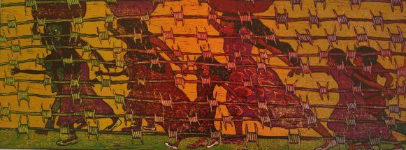 Modern Refugees, Fred Mutebi on bark-cloth